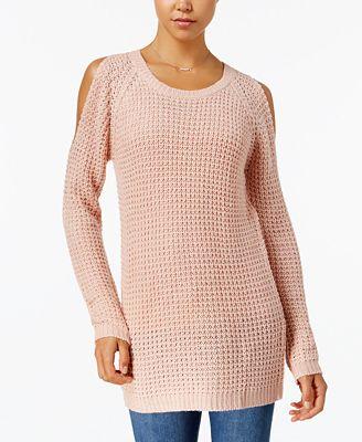 Ultra Flirt By Ikeddi Juniors' Cold-Shoulder Sweater
