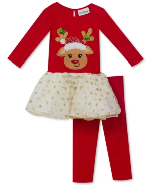 Rare Editions 2Pc Reindeer Tunic and Leggings Set Little Girls (46X)