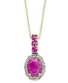 Ruby (1-1/6 ct. t.w.) & Diamond (1/6 ct. t.w.) Halo Pendant Necklace in 14k Gold