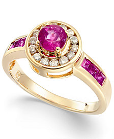 Ruby (9/10 ct. t.w.) & Diamond (1/5 ct. t.w.) Halo Ring in 14k Gold