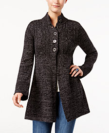 Style & Co Button-Front Bell-Sleeve Cardigan, Created for Macy's
