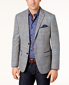 Tallia Men's Slim-Fit Black/White Houndstooth Plaid Sport Coat