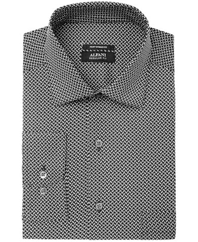 Alfani Men's Regular Fit Performance Stretch Geometric Eye Print Dress Shirt, Created for Macy's