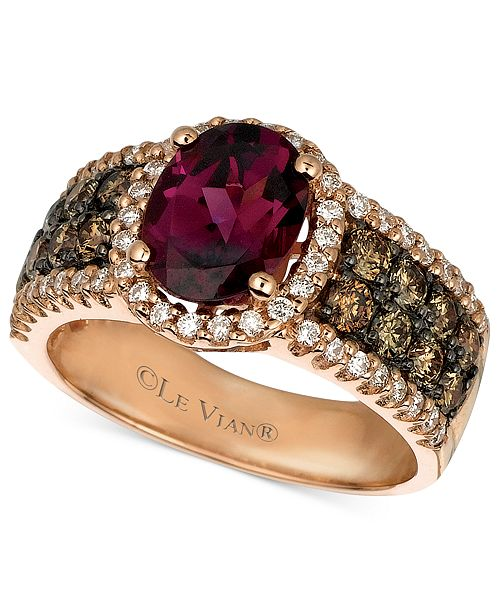 Le Vian Raspberry Rhodolite® Garnet (1-7/8 ct. Chocolate Diamond (3/4 ct. t.w.) and White Diamond (3/8 ct. t.w.) Oval in 14k Rose Gold