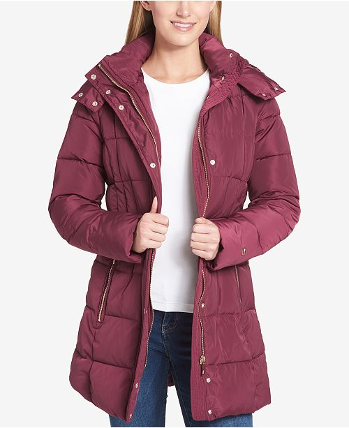 25c18bb6 Tommy Hilfiger Belted Hooded Puffer Coat & Reviews - Coats ...