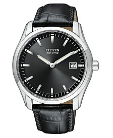 Citizen Men's Eco-Drive Black Croc Embossed Leather Strap Watch 40mm AU1040-08E