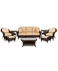 Monterey Outdoor Wicker 8-Pc. Seating Set with Sunbrella® Cushions (1 Sofa, 2 Club Chairs, 2 Ottomans, 1 Coffee Table and 2 End Tables), Created for Macy's