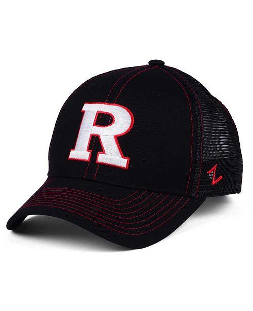 sale retailer 8ea0e 7be89 ... Zephyr Rutgers Scarlet Knights Staple Trucker Blackout Snapback Cap ...