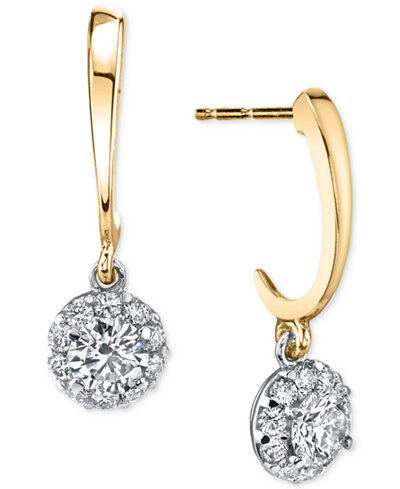 Diamond Disc Two-Tone Drop Earrings (1/2 ct. t.w.) in 14k Gold & White Gold