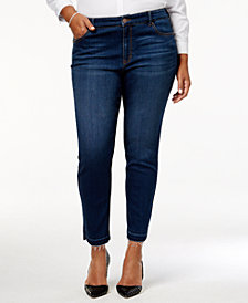 Style & Co Plus Size Split-Hem Ankle Jeans, Created for Macy's