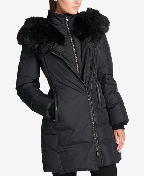 Dkny Faux Fur Trim Asymmetrical Puffer Coat Amp Reviews