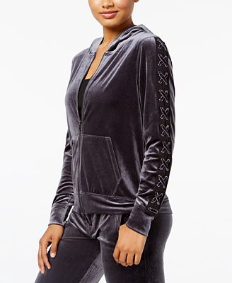 Material Girl Active Juniors' Hooded Velour Jacket, Created for Macy's