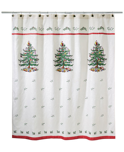 CLOSEOUT! Avanti Spode Christmas Tree Shower Curtain