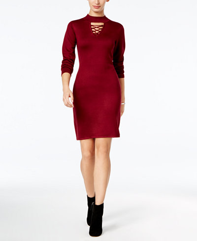 Connected Choker-Neck Sweater Dress