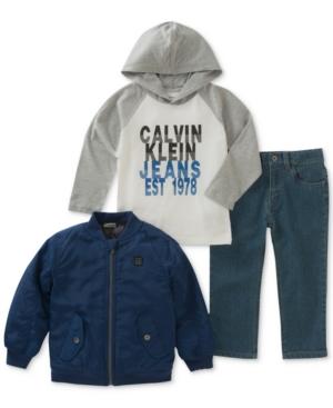 Calvin Klein 3Pc GraphicPrint Hooded Shirt Jacket  Pants Set Toddler Boys (2T5T)
