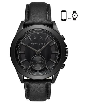 A|X Armani Exchange Men's Connected Black Leather Strap Hybrid Smart Watch 44mm