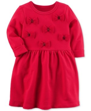 Carters Bow Applique Cotton Dress Little Girls (46X)  Big Girls (716)