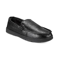 Club Room Mens Faux-Leather Memory Foam Moccasin Slippers (Black)