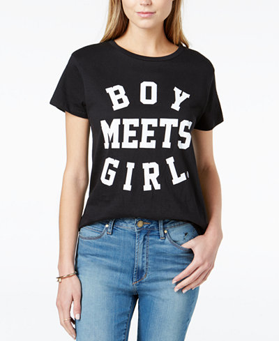 BOY MEETS GIRL. Cotton Logo Graphic-Print T-Shirt