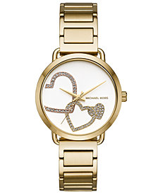 Michael Kors Women's Portia Gold-Tone Stainless Steel Bracelet Watch 37mm