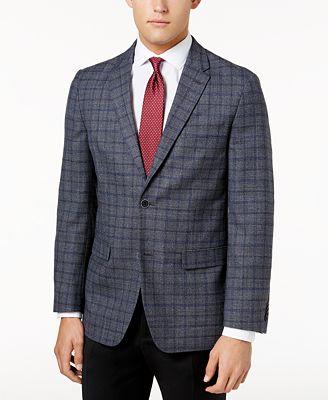 Tommy Hilfiger Men's Slim-Fit Gray/Blue Windowpane Soft Sport Coat