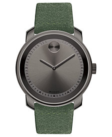 Movado Men's Swiss BOLD Green Suede Strap Watch 43mm