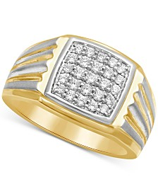 Men's Diamond Two-Tone Ring (1/2 ct. t.w.) in 10k gold & White Rhodium Plated over 10k Gold
