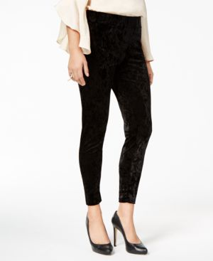 Thalia Sodi Crushed Velvet Leggings, Created for Macy's - Deep Black