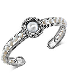Final Call by EFFY® Cultured Freshwater Pearl (4mm & 10mm) Cuff Bracelet in Sterling Silver
