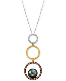 Le Vian Chocolatier® Cultured Black Pearl (10mm) & Diamond (5/8 ct. t.w.) Circle Pendant Necklace in 14k Gold, White Gold & Rose Gold
