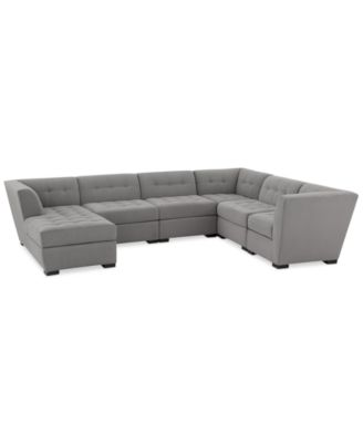 Roxanne Ii Performance Fabric 6 Pc Modular Sofa With Chaise Created For Macy S