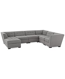 "Roxanne 136"" II Performance Fabric 6-Pc.  Modular Sofa with Chaise, Created for Macy's"