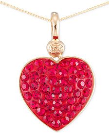 SIS by Simone I. Smith Crystal Heart Pendant Necklace in 18k Gold over Sterling Silver