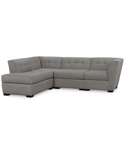 Furniture Roxanne II Performance Fabric 4-Pc. Modular Sofa with Bumper, Created for Macy's