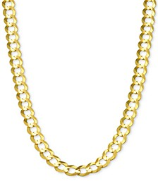 """30"""" Open Curb Link Chain Necklace in Solid 14k Gold"""