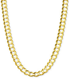 "28"" Open Curb Link Chain Necklace in Solid 14k Gold"