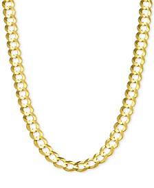 "30"" Open Curb Link Chain Necklace in Solid 14k Gold"