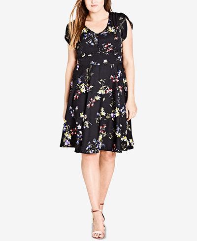 City Chic Trendy Plus Size Free Love Floral A-Line Dress