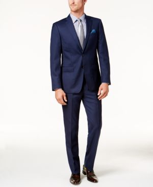 Tallia Men's Slim-Fit Navy Tonal Grid Suit thumbnail