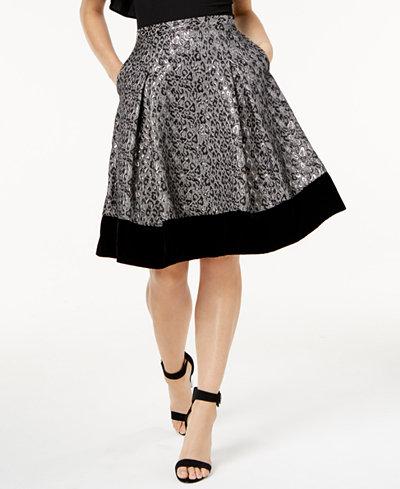 SB by Sachin & Babi Velvet-Trim A-Line Skirt, Created for Macy's