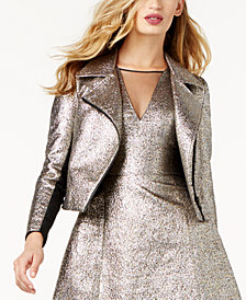 SB by Sachin & Babi Metallic Moto Jacket, Created for Macy's
