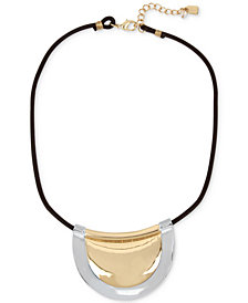 Robert Lee Morris Soho Two-Tone Leather Cord Pendant Necklace
