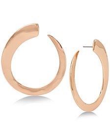 Robert Lee Morris Soho Large Rose Gold-Tone Hammered Hoop Earrings