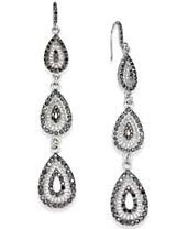 I.N.C. Silver-Tone Hematite Pavé Triple Drop Earrings, Created for Macy's