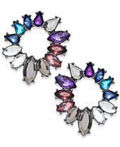 I.N.C. Hematite-Tone Multi-Stone Circle Stud Earrings, Created for Macy's