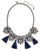 I.N.C. Hematite-Tone Multi-Stone & Blue Tassel Statement Necklace, Created for Macy's