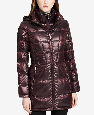 Calvin Klein Hooded Packable Down Puffer Coat - Women - Macy's