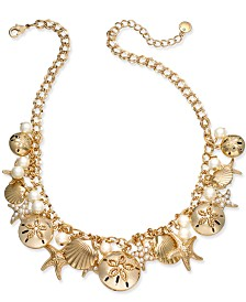 Charter Club Gold-Tone Imitation Pearl Sea Motif Statement Necklace, Created for Macy's