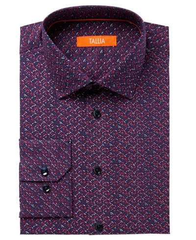 Tallia Men's Fitted Abstract Circle Print Dress Shirt