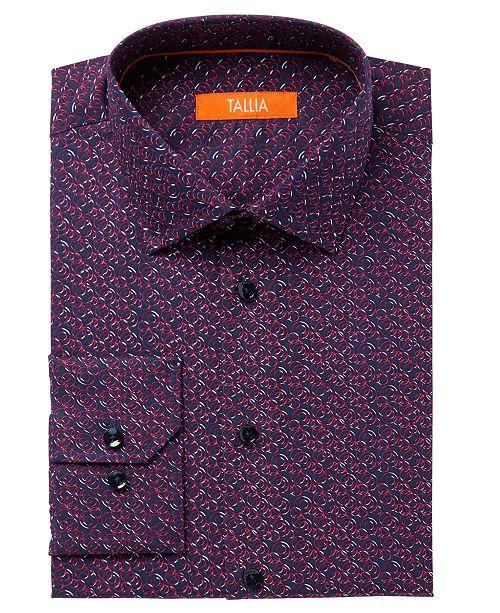 Tallia Men's Fitted Abstract Circle Print Dress Shirt